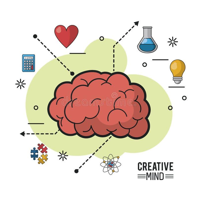 Kolorowy plakat kreatywnie umysł z encephalitic masą wokoło ikonami i ilustracji