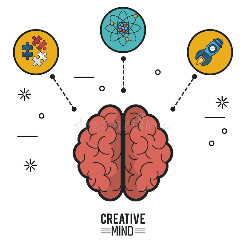 Kolorowy plakat kreatywnie umysł z móżdżkowym odgórnym widokiem swój dwa ikony i hemisfery łamigłówka atom i kawałki i ilustracji