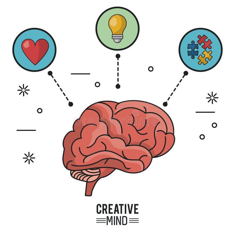 Kolorowy plakat kreatywnie umysł z mózg i ikony kawałki serca, żarówki i łamigłówki ilustracji