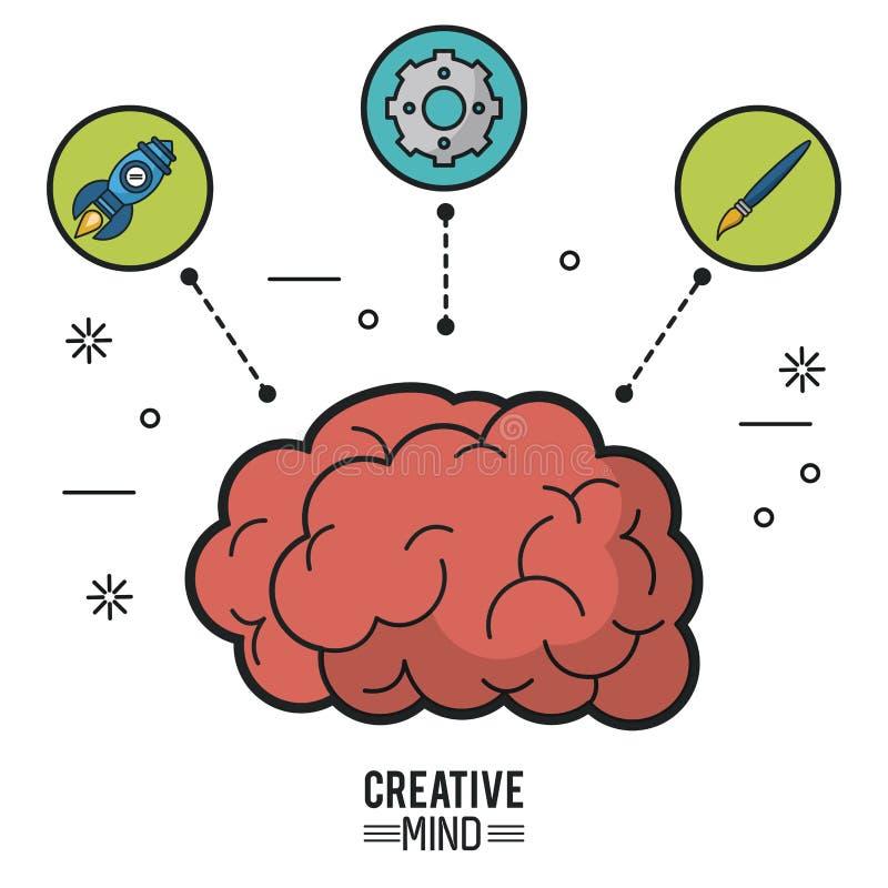 Kolorowy plakat kreatywnie umysł z mózg i ikony rakieta, pinion i muśnięcie ilustracja wektor