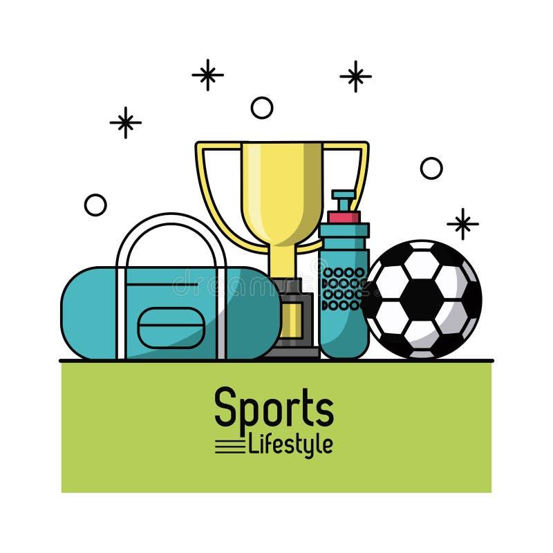 Kolorowy plakat sporta styl życia z piłki nożnej trofeum i piłką ilustracji