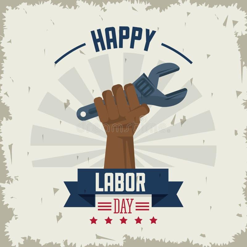 Kolorowy plakat szczęśliwy święto pracy z afro amerykańskim ręki mienia spanner ilustracja wektor