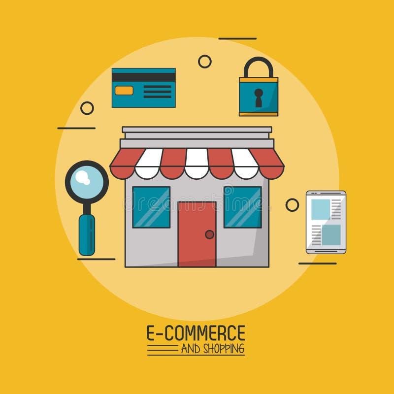 Kolorowy plakat w żółtym tle wokoło i bezpiecznie handel ikonach handel elektroniczny i zakupy z sklepem w zbliżeniu royalty ilustracja