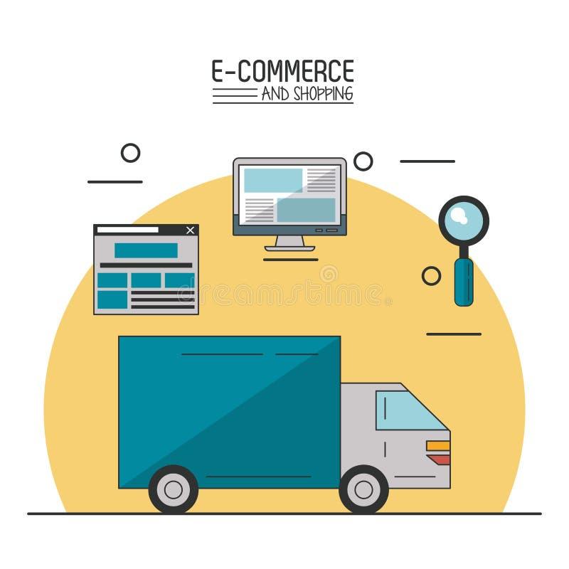 Kolorowy plakat w białym tle handel elektroniczny i zakupy z doręczeniowym zakupy ciężarówki i procesu royalty ilustracja