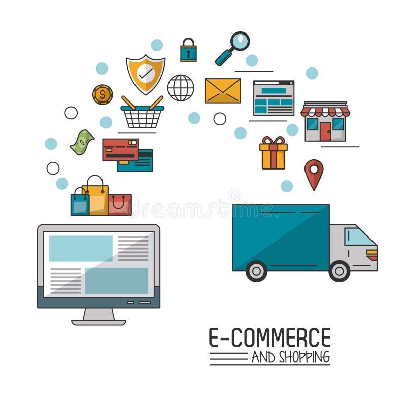 Kolorowy plakat w białym tle handel elektroniczny i zakupy z komputerem stacjonarnym i procesem dodajemy zakupy ilustracji