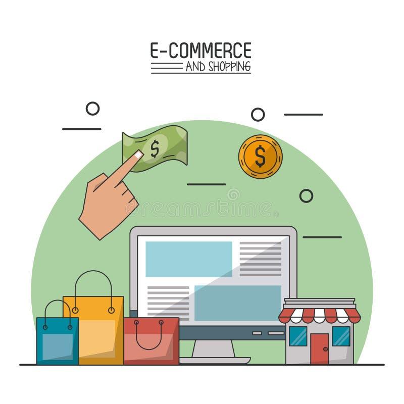 Kolorowy plakat w białym tle handel elektroniczny i zakupy z komputerem stacjonarnym, torba na zakupy i sklep ilustracja wektor
