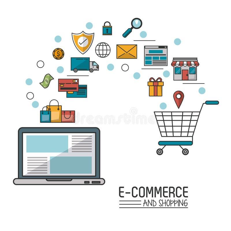 Kolorowy plakat w białym tle handel elektroniczny i zakupy z laptopem i procesem dodajemy wózek na zakupy ilustracja wektor