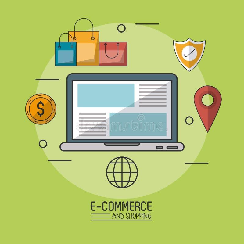 Kolorowy plakat w zielonym tle handel elektroniczny i zakupy z laptopem w ikonach wokoło zbliżenia i handlu royalty ilustracja