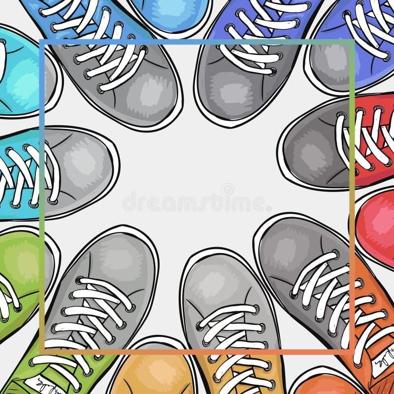 Kolorowy plakat z sportowymi butami z miejscem dla teksta czarno biały filtra Reklamować sportów buty wektor royalty ilustracja
