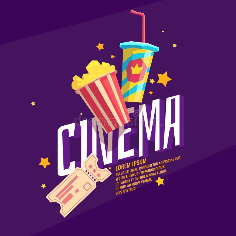 Kolorowy plakatowy kino z popkornem, biletem i sodą, ilustracja wektor