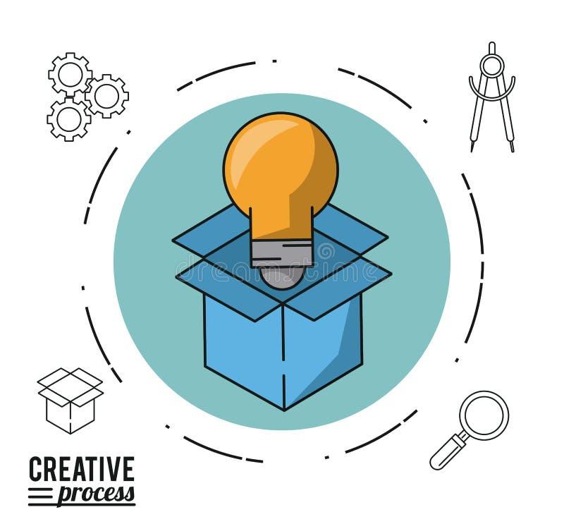 Kolorowy plakatowy kreatywnie proces okrąg z kartonem i żarówką ilustracji