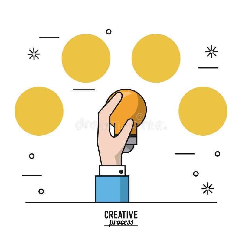 Kolorowy plakatowy kreatywnie proces ręka z żarówki i koloru żółtego okręgami na wierzchołku ilustracja wektor
