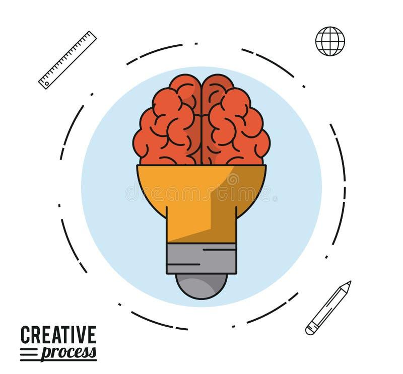 Kolorowy plakatowy kreatywnie proces z żarówką na kształcie mózg w bławym okręgu ilustracja wektor