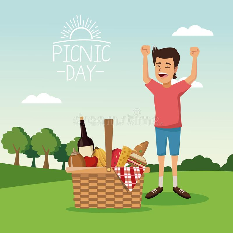Kolorowy plakatowy scena krajobraz pykniczny dzień z koszykowym pełnym jedzenia i chłopiec szczęściem nad tablecloth trawą ilustracji