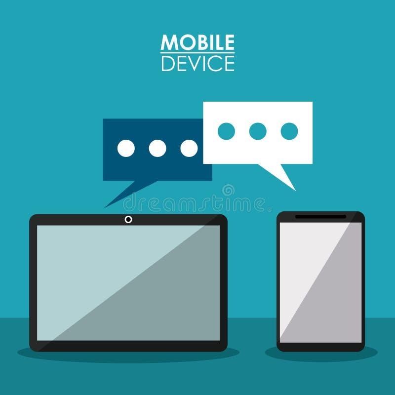 Kolorowy plakatowy urządzenie przenośne z komunikacją między smartphone i pastylką ilustracja wektor