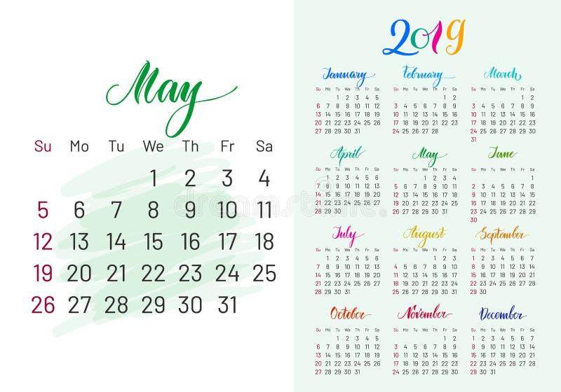 Kolorowy planista, 2019, May oddzielnie royalty ilustracja