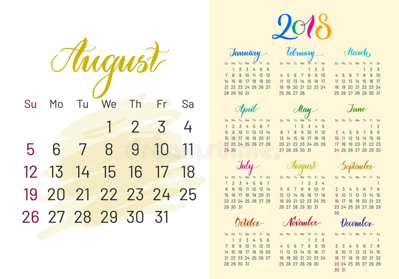 Kolorowy planista, 2018, Sierpień oddzielnie ilustracji