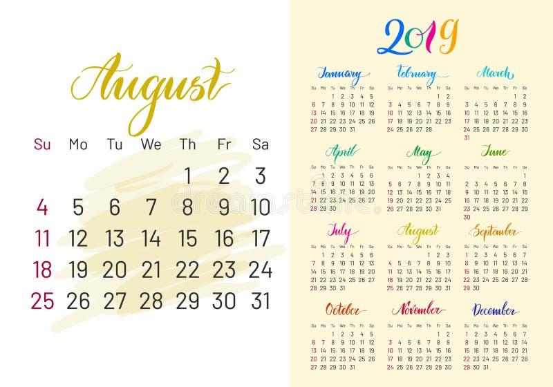 Kolorowy planista, 2019, Sierpień oddzielnie ilustracja wektor