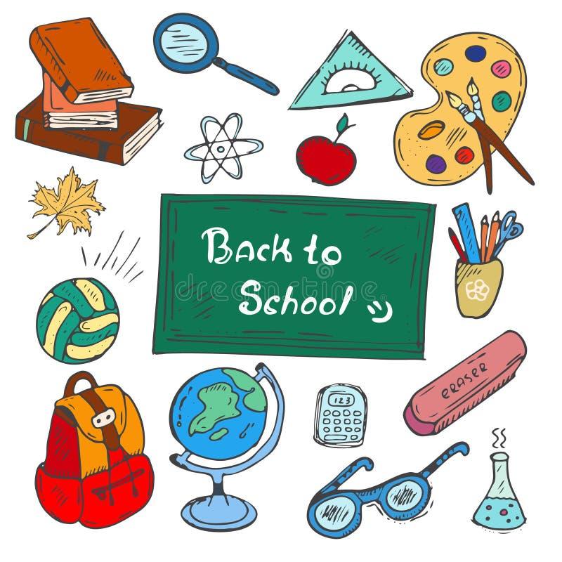 Kolorowy plecy szkoły pociągany ręcznie doodle ustawia na białym tle ilustracja wektor