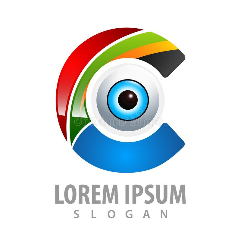 Kolorowy początkowy list C z okręgu oka logo pojęcia projektem Symbolu szablonu elementu graficzny wektor ilustracji