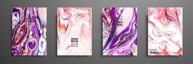 Kolorowy pokrywa projekt ustawiający z teksturami Zbliżenie obraz Abstrakcjonistyczna jaskrawa ręka malował tło, rzadkopłynny akr royalty ilustracja
