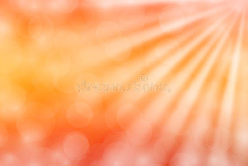 Kolorowy pomarańczowy bokeh świateł promienia połysk na gradientowym pomarańczowym tle dla kopii przestrzeni, bokeh kolorowy świa ilustracja wektor