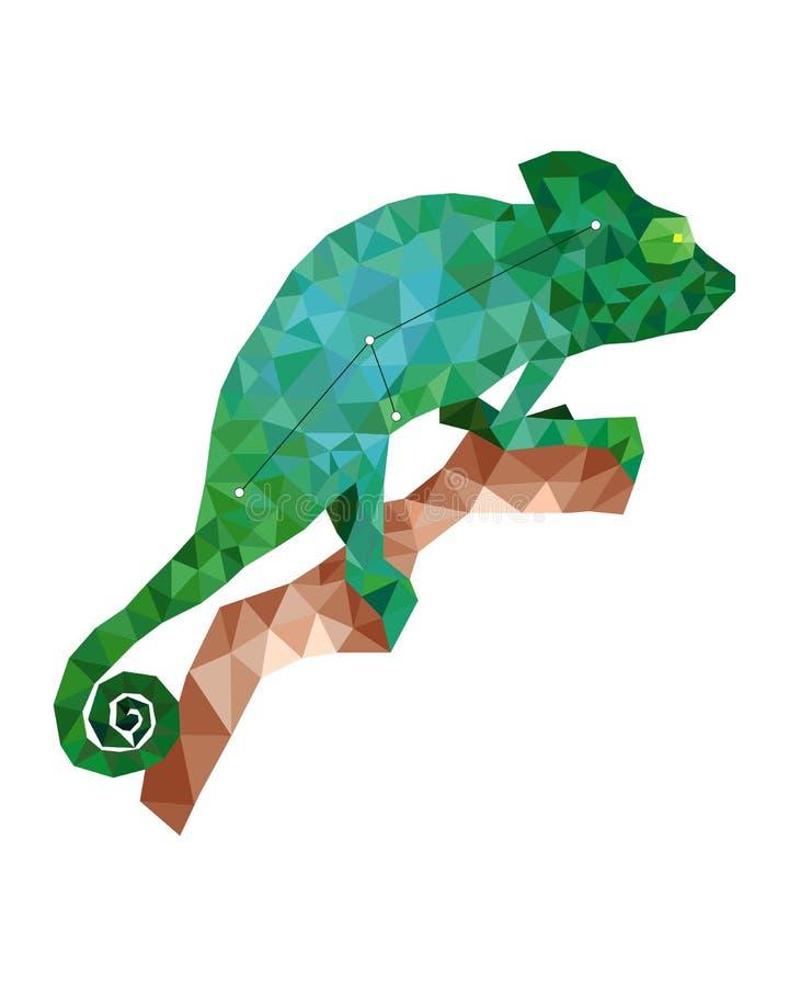 Kolorowy postaci artof zieleni kameleon w poligonalnym stylu ilustracji
