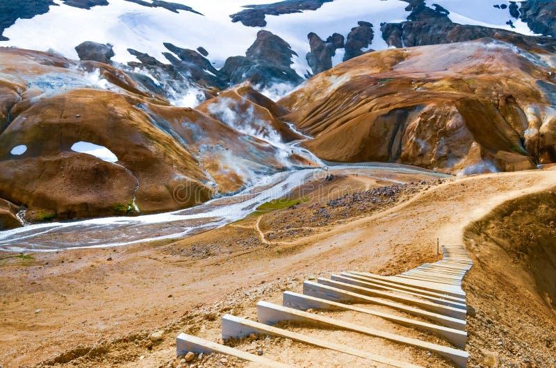 Kolorowy powulkaniczny geotermiczny gorącej wiosny pole, Iceland zdjęcia royalty free