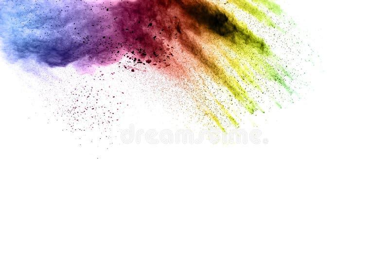 Kolorowy prochowy wybuch na białym tle Pastelowego koloru pyłu cząsteczki chełbotanie zdjęcia stock