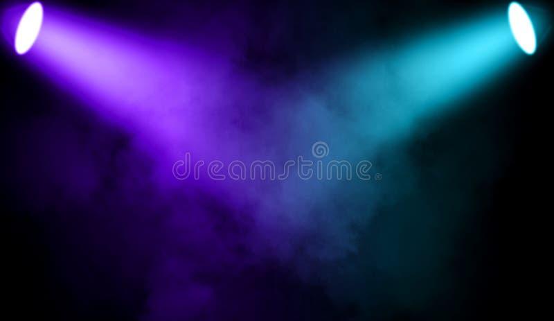 Kolorowy projektor Światło reflektorów scena z dymem na czarnym tle ilustracja wektor