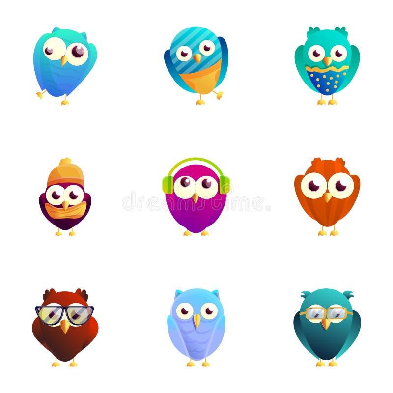 Kolorowy ptak ikony set, kreskówka styl ilustracja wektor