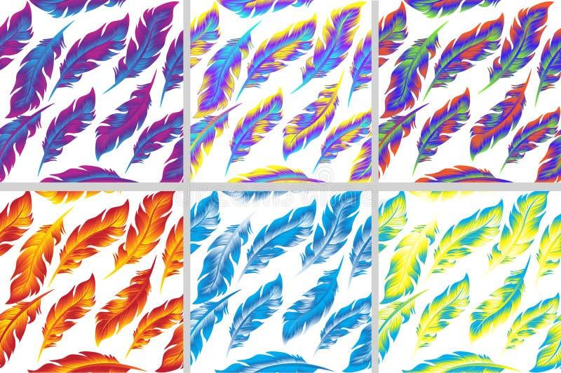 Kolorowy ptasich piórek wzoru bezszwowy set Doodle styl ilustracji
