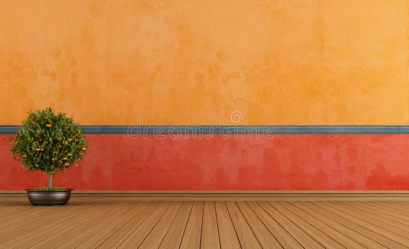 Kolorowy pusty rocznika pokój royalty ilustracja