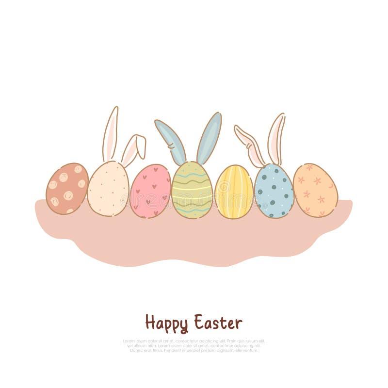 Kolorowy pysanka z dekoracyjnymi ornamentu i królika ucho, Kwiecień wakacyjna tradycja, Easter świętowania sztandar ilustracji