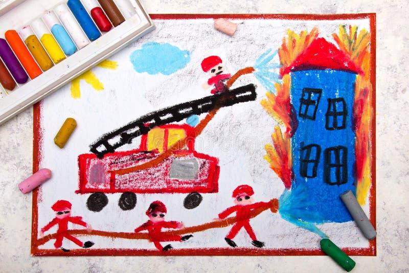 Kolorowy ręka rysunek: czerwony samochód strażacki z drabiną zdjęcia stock