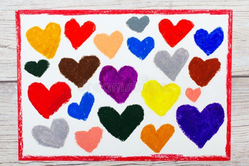 Kolorowy ręka rysunek: piękni serca, zdjęcie stock