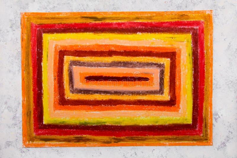 Kolorowy ręka rysunek: pomarańczowi prostokąty fotografia stock