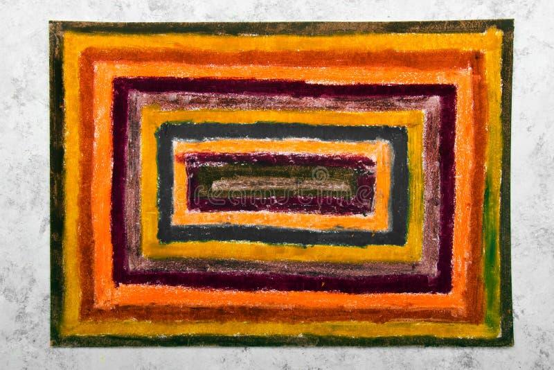Kolorowy ręka rysunek: pomarańczowi prostokąty fotografia royalty free