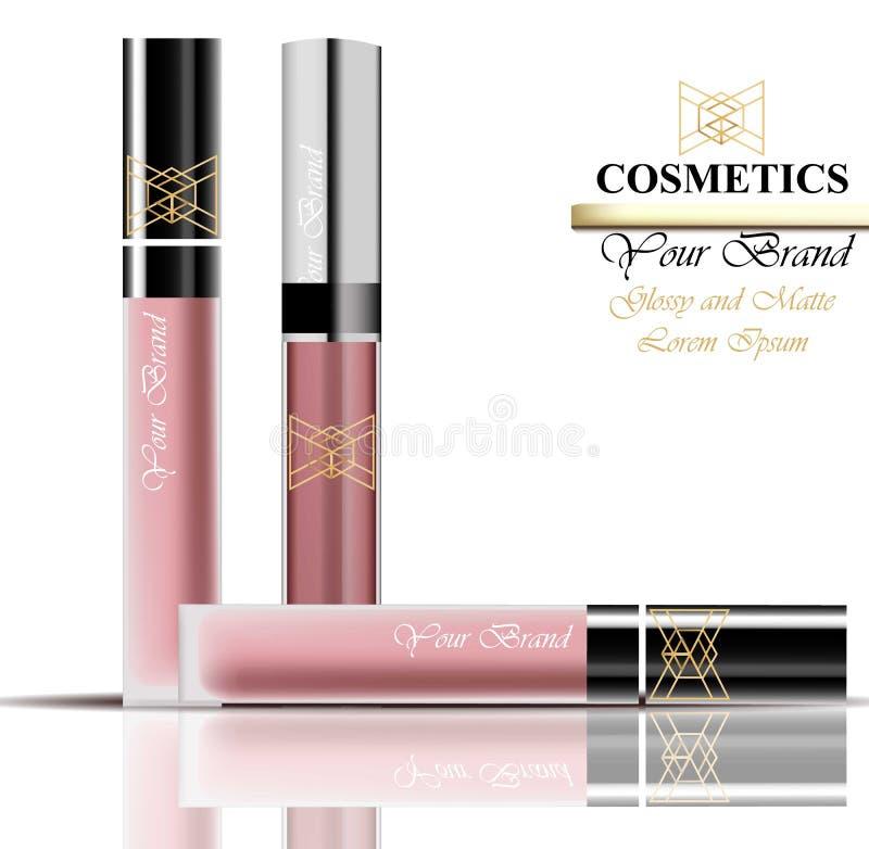 Kolorowy Realistick lipgloss pakunek w złocie Wektorów kosmetyków szczegółowego produktu ustalone kolekcje royalty ilustracja