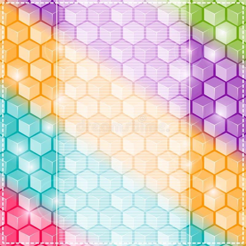 Kolorowy Rhombus karty tło. Zaproszenie z Pionowo etykietką dla teksta royalty ilustracja
