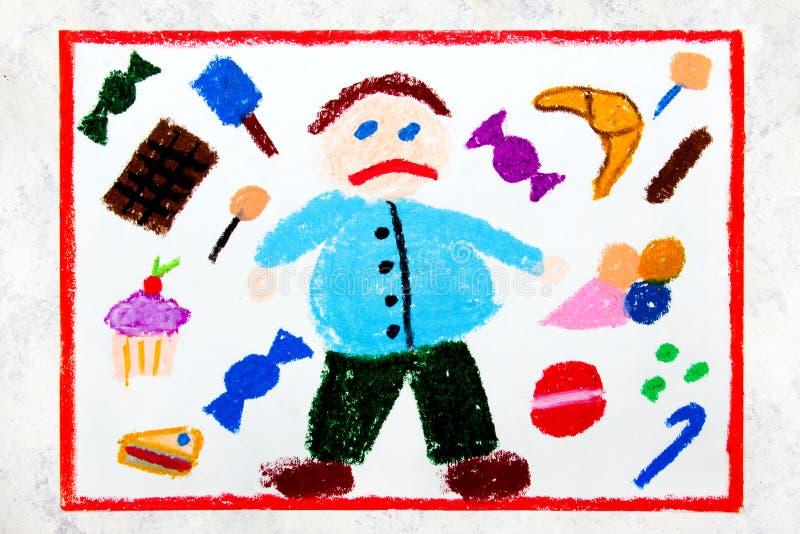 Kolorowy rysunek: Gruba chłopiec i cukierki wokoło on i Dzieciństwo otyłość zdjęcie royalty free