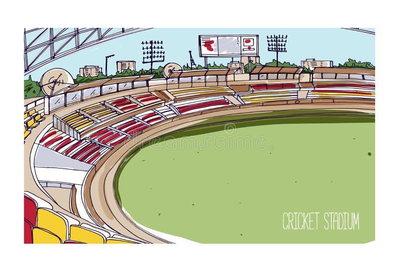 Kolorowy rysunek krykieta stadium z rzędami siedzenia, elektroniczna tablica wyników i zielony trawiasty pole, Arena sportowa dla royalty ilustracja