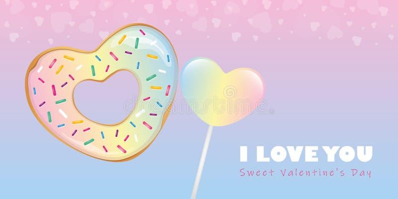 Kolorowy słodki valentines dnia cukierku serce kształtował pączek i lizaka royalty ilustracja