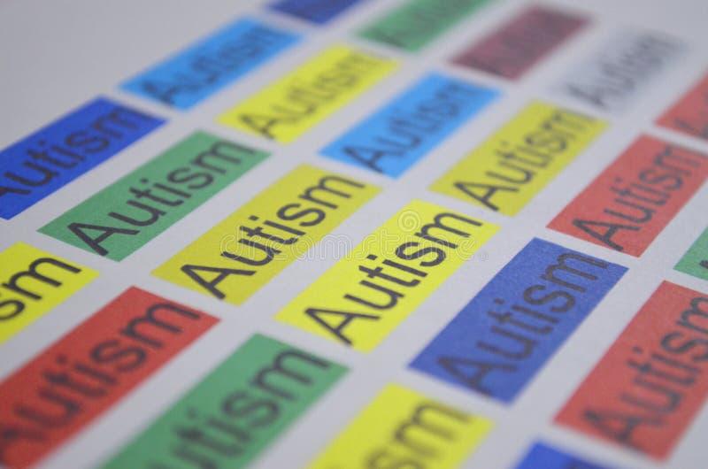 Kolorowy słowo autyzm, zamyka up zdjęcia royalty free