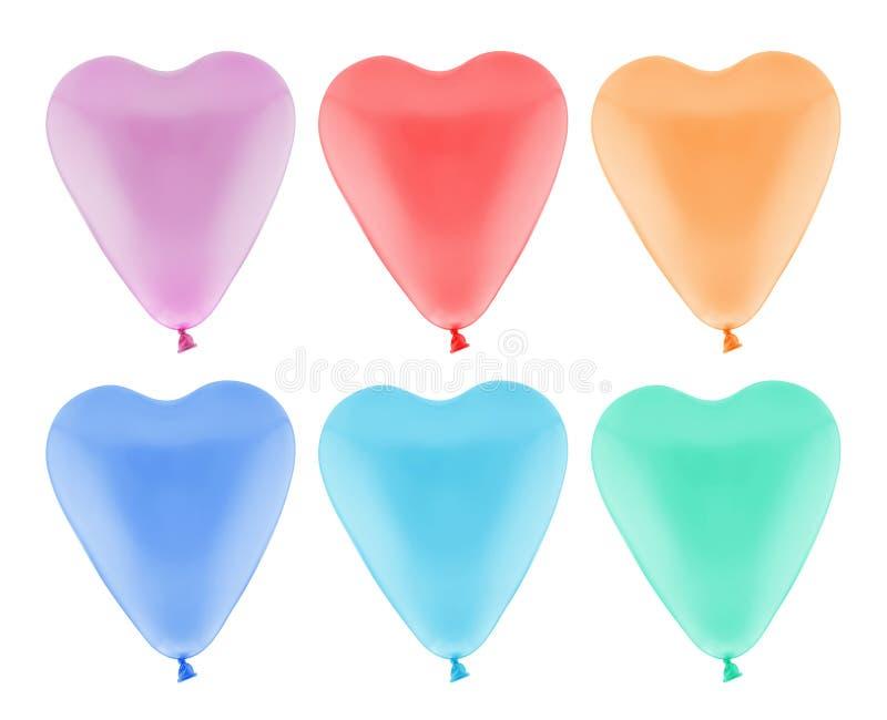 Kolorowy serce balon odizolowywający, z ścinek ścieżką obrazy stock
