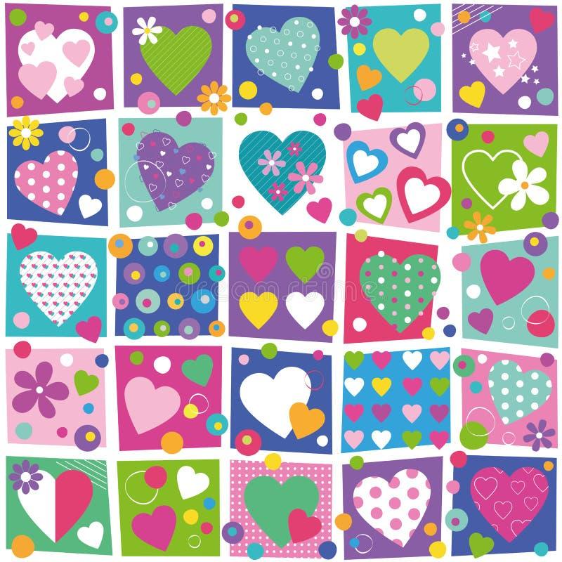 Kolorowy serce kolekci wzór royalty ilustracja