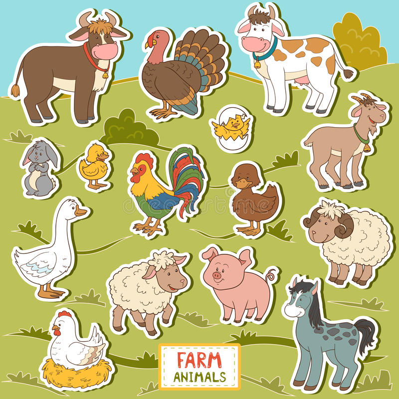 Kolorowy set śliczni zwierzęta gospodarskie i przedmioty, wektorowi majchery ilustracja wektor