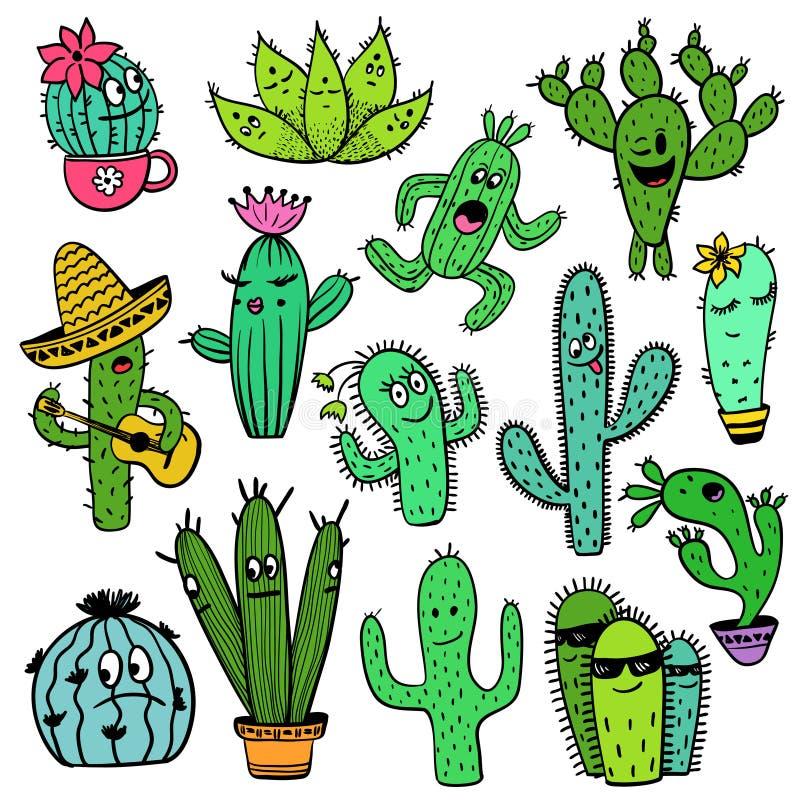 Kolorowy set Śmieszni Kaktusowi charaktery ilustracji