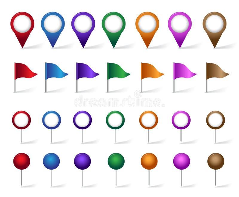 Kolorowy set lokacja, miejsca, podróż i miejsce przeznaczenia Wałkowe ikony, ilustracji