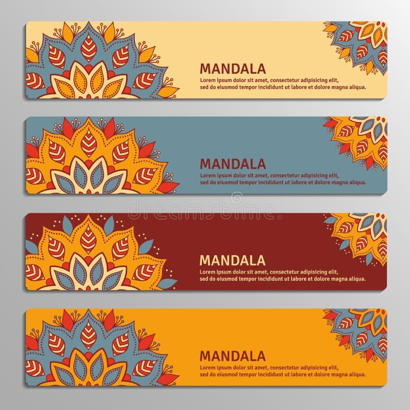 Kolorowy set ornamentacyjni sztandary z kwiatu mandala w beżu, ilustracja wektor